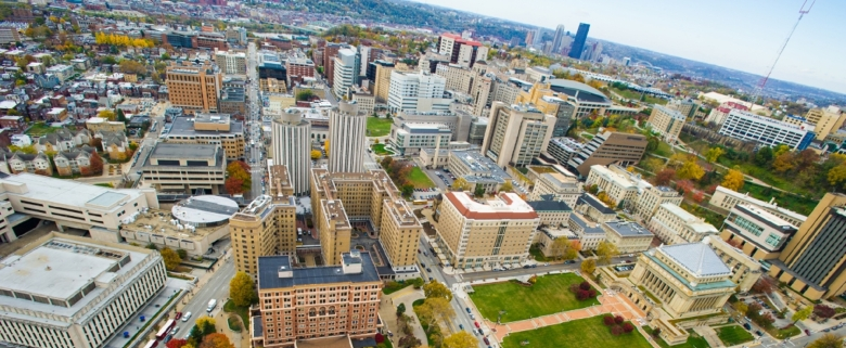 Overhead campus view Pitt